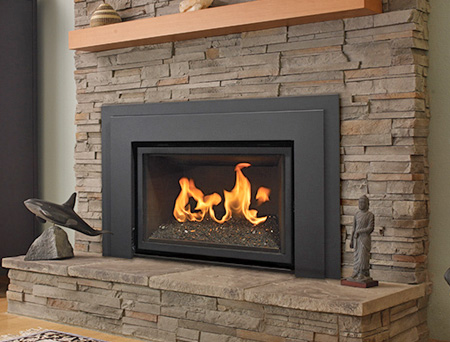 An appliance that burns propane or a natural gas. It is an insert that you put into an existing fireplace and it helps create a heat source. It goes up through an existing flue and vents outside.